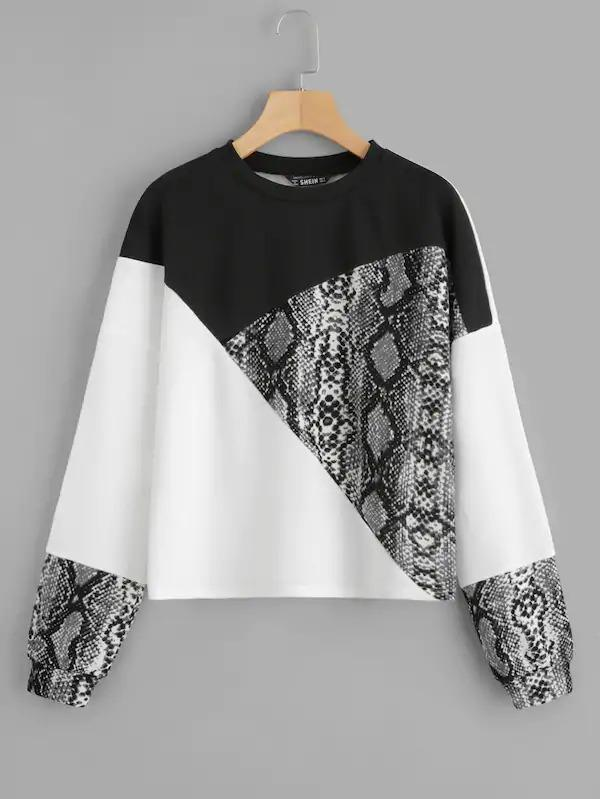 Women Snakeskin Print Colorblock Sweatshirt