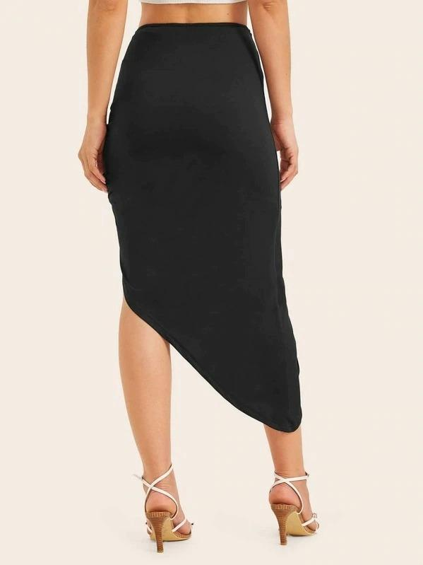 Women Solid Asymmetrical Hem Knotted Skirt With Line