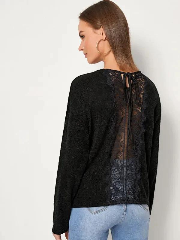 Women Solid Lace Panel Tie Back Sweater