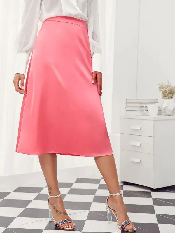 Women Solid Midi Satin A-Line Skirt