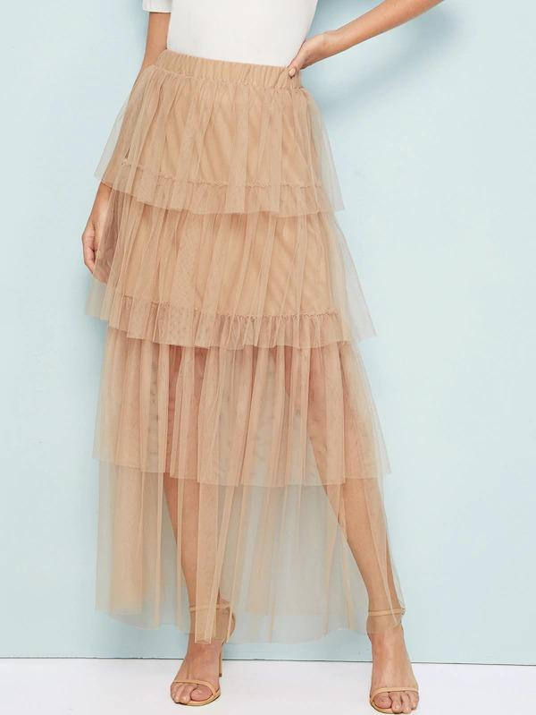 Women Solid Ruffle Layered Hem Mesh Skirt