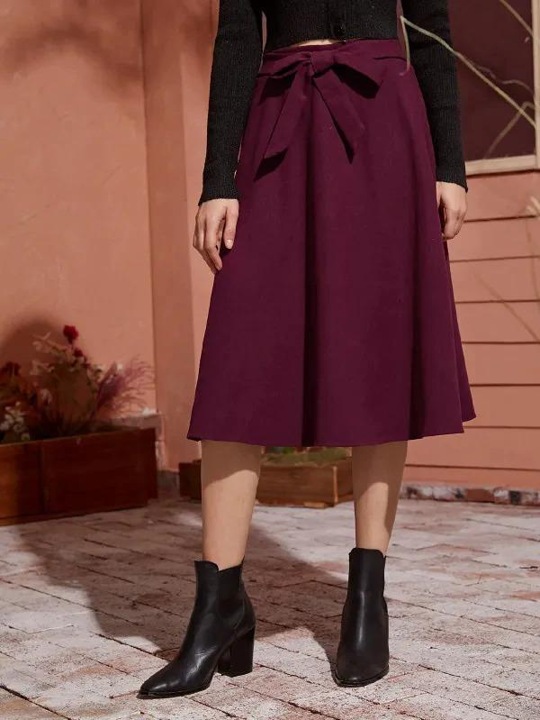 Women Solid Self Tie Flared A-Line Skirt