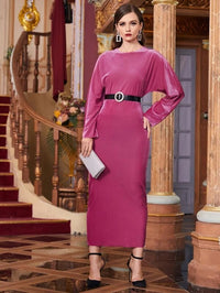 Women Solid Batwing Sleeve Fitted Dress Without Belt