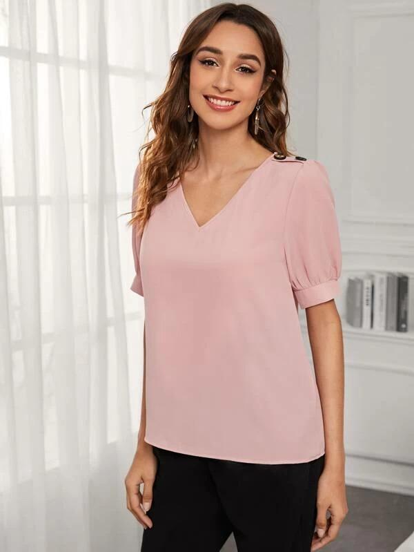 Women Solid Button Detail V-Neck Blouse