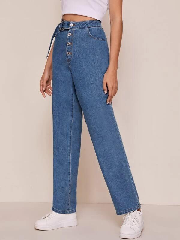 Women Solid Button Fly Belted Mom Jeans