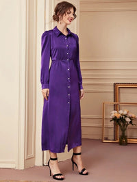 Women Solid Button Through Shirt Dress
