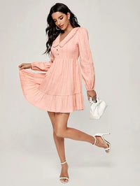 Women Solid Frill Trim Flounce Hem Dress