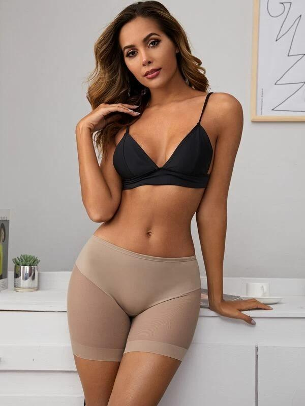 Women Solid Mesh Shapewear Panty