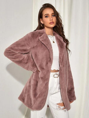 Women Solid Open Front Faux Fur Coat