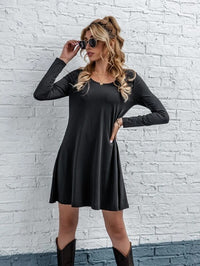 Women Solid Round Neck Tee Dress Without Belt