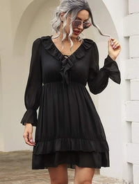 Women Solid Ruffle Trim Flounce Sleeve V-neck Dress