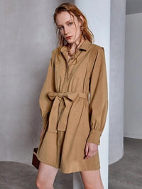 Women Solid Self Tie Shirt Dress