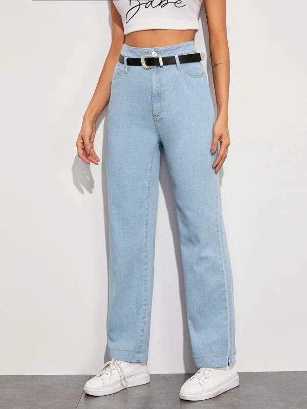 Women Solid Straight Leg Belted Jeans