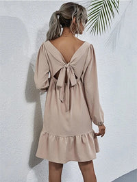 Women Solid Tie Back Babydoll Dress