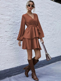 Women Solid V-Neck Belted Layered Dress