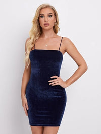 Women Solid Velvet Bodycon Dress