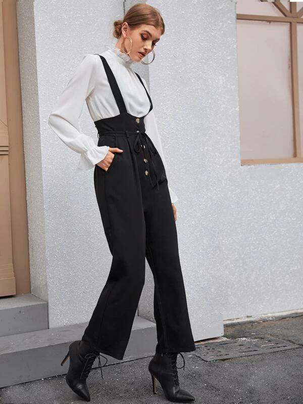 Women Solid Button Front Belted Overall Jumpsuit