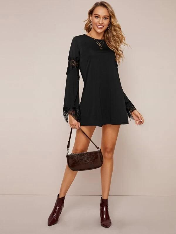 Women Solid Contrast Lace Zip Back Dress