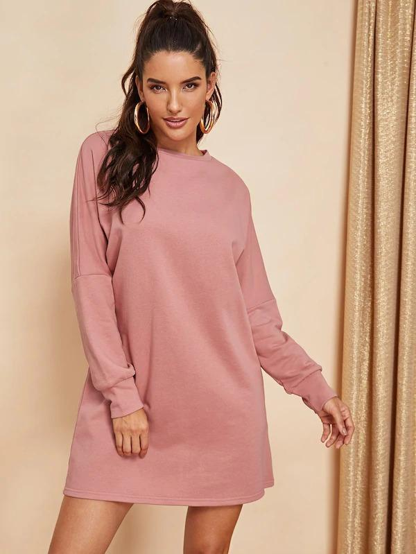 Women Solid Drop Shoulder Sweatshirt Dress