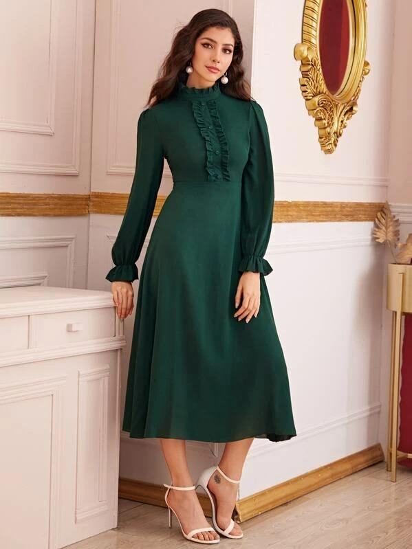 Women Solid Frill Trim Flounce Sleeve Dress