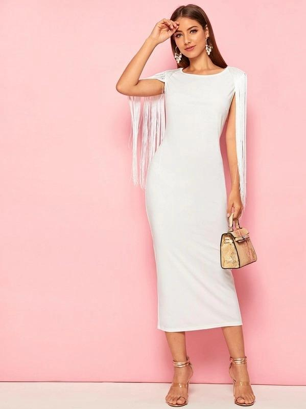 Women Solid Fringe Detail Split Hem Dress