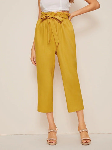 Women Solid Paperbag Waist Crop Pants