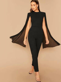 Women Solid Pleated Sleeve Cape Jumpsuit