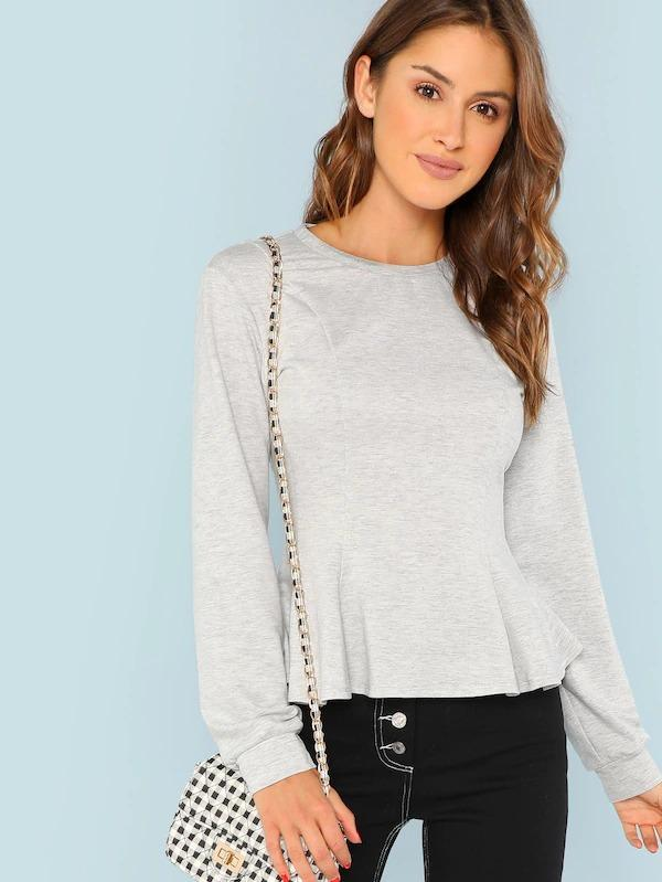 Women Solid Ruffle Hem Sweatshirt