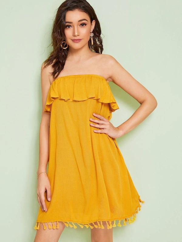 Women Solid Ruffle Trim Tassel Detail Tube Dress