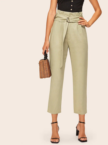 Women Solid Self Tie Paperbag Pants