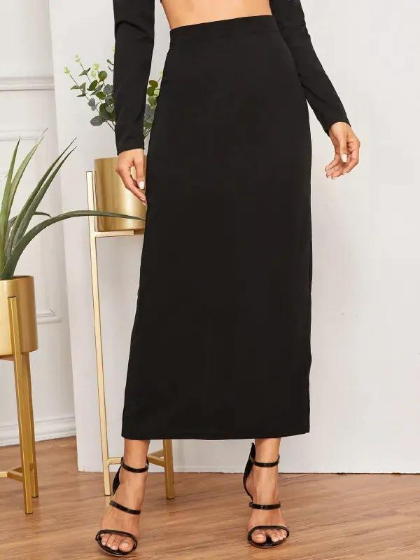 Women Split Back High Waist Maxi Skirt