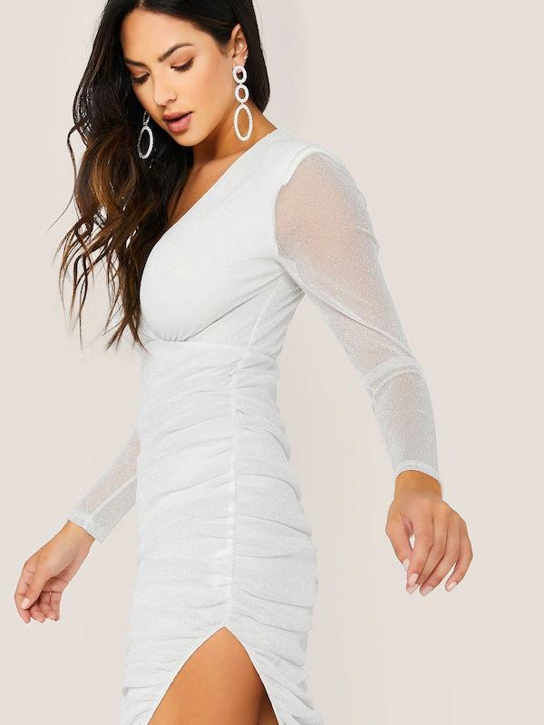 Women Split Thigh Ruched Mesh Insert Glitter Dress