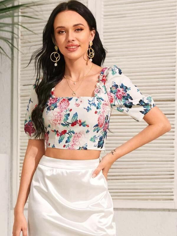 Women Square Neck Frill Trim Floral Crop Blouse