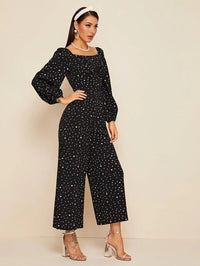 Women Square Neck Twist Front Dalmatian Print Jumpsuit