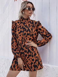 Women Stand Collar Allover Print Shirt Dress Without Belt