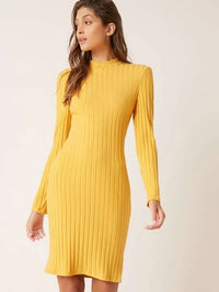 Women Stand Collar Rib-knit Bodycon Dress