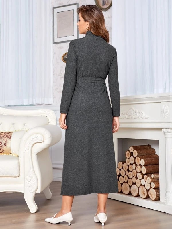 Women Stand Neck Button Front Belted Dress