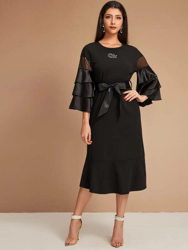 Women Star & Moon Pattern Layered Sleeve Belted A-Line Dress