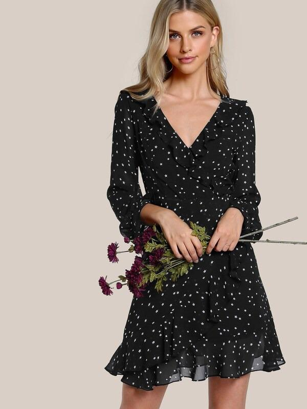 Women Star Print Ruffle Trim Wrap Dress