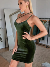 Women Strappy Shoulder Velvet Bodycon Dress