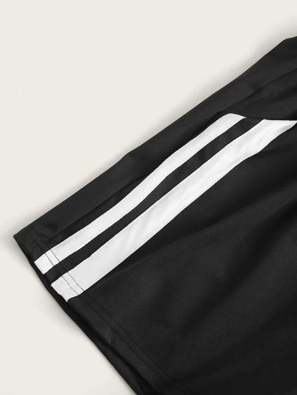 Women Stripe Tape Drawstring Track Shorts