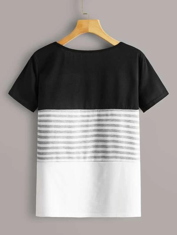 Women Striped Rib-knit Panel Color-block Tee