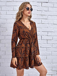 Women Striped Surplice Front A-line Dress