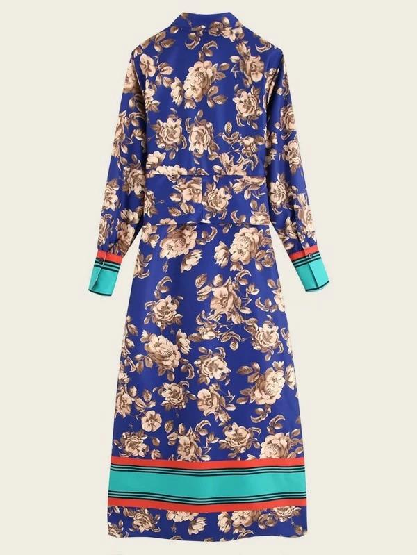 Women Striped And Floral Graphic Belted Slit Shirt Dress