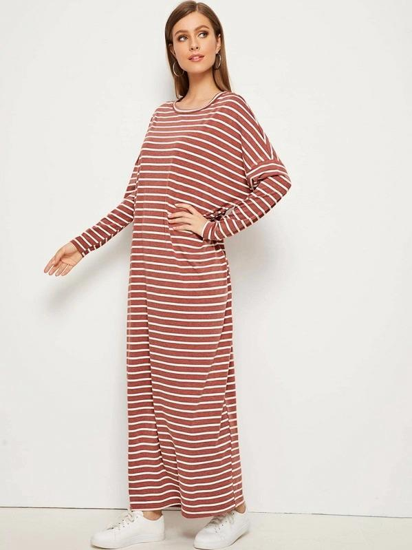 Women Striped Drop Shoulder Maxi T-Shirt Dress