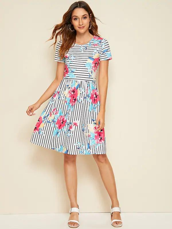 Women Striped & Floral Print Fit & Flare Dress