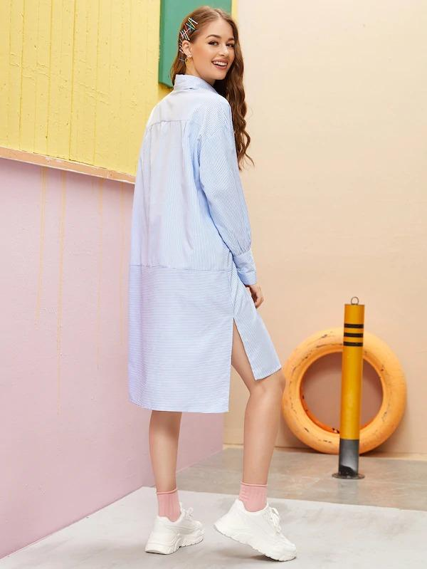 Women Striped High Low Hem Shirt Dress Without Bag