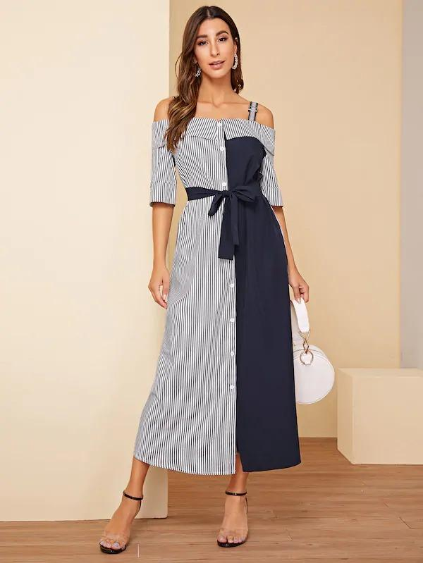 Women Striped Print Belted Maxi Dress