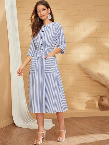 Women Striped Print Button Front Drawstring Waist Dress