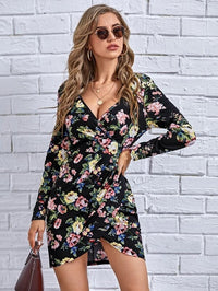 Women Surplice Front Allover Floral Print Dress